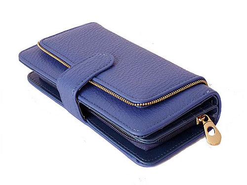 ZIP DESIGN ROYAL BLUE MULTI-COMPARTMENT PURSE
