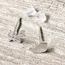 A-SHU 925 STERLING SILVER TINY BIRD & LEAF STUD EARRINGS - A-SHU.CO.UK