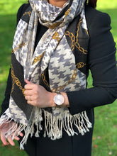 A-SHU LARGE BLACK CHAIN AND DOGTOOTH DESIGN SHAWL SCARF - A-SHU.CO.UK