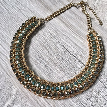 A-SHU DARK BLUE VINTAGE ANTIQUE GOLD DIAMANTE STONE BEADED SHORT CHOKER NECKLACE - A-SHU.CO.UK
