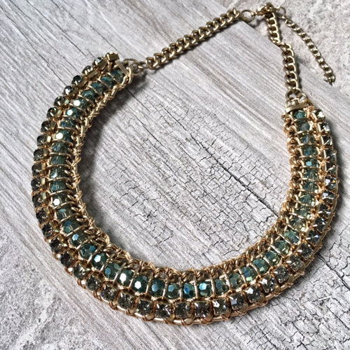 DARK BLUE VINTAGE ANTIQUE GOLD DIAMANTE STONE BEADED SHORT CHOKER NECKLACE