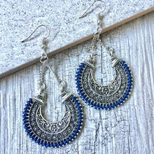 A-SHU ANTIQUE SILVER LONG ORNATE NAVY BLUE DANGLE DROP EARRINGS - A-SHU.CO.UK