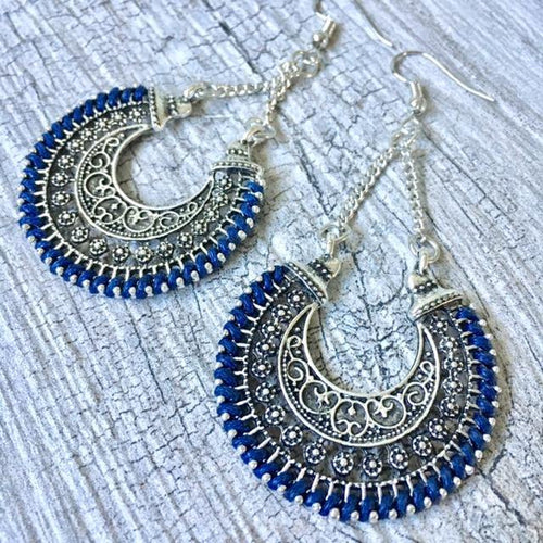 ANTIQUE SILVER LONG ORNATE NAVY BLUE DANGLE DROP EARRINGS