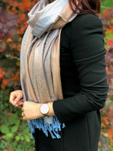 A-SHU LARGE BEIGE AND BLUE PAISLEY PRINT PASHMINA SHAWL SCARF - A-SHU.CO.UK