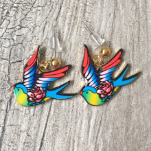 A-SHU MULTI-COLOUR SWALLOW BIRD DANGLE DROP STUD EARRINGS - A-SHU.CO.UK