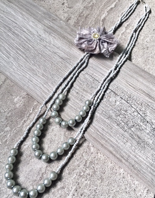 A-SHU LONG BEADED PEARL CORSAGE MULTI-LAYER NECKLACE - SILVER GREY - A-SHU.CO.UK