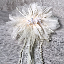 PEARL AND RIBBON CREAM FABRIC FLOWER LACE CORSAGE CLIP