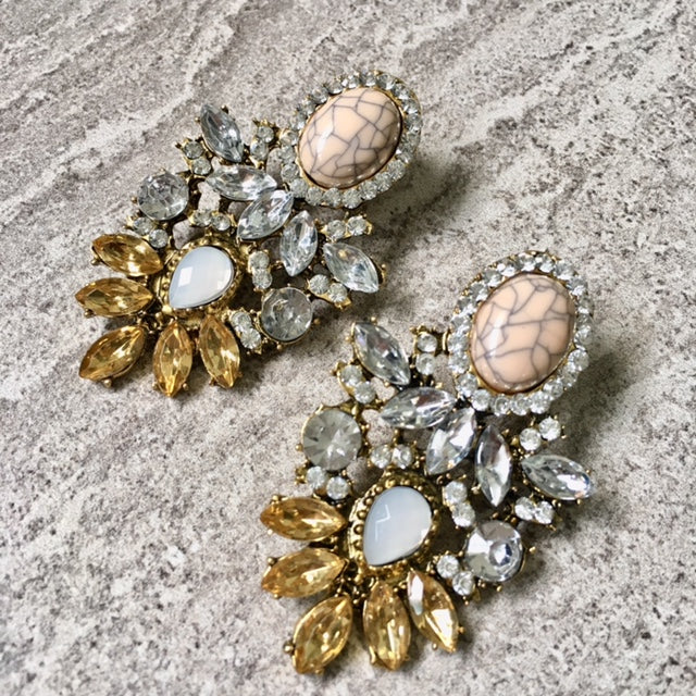 A-SHU LARGE BLUSH PINK MARBLE DIAMANTE DROP EARRINGS - A-SHU.CO.UK