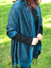 A-SHU LARGE DARK GREEN PAISLEY PRINT PASHMINA SHAWL SCARF - A-SHU.CO.UK