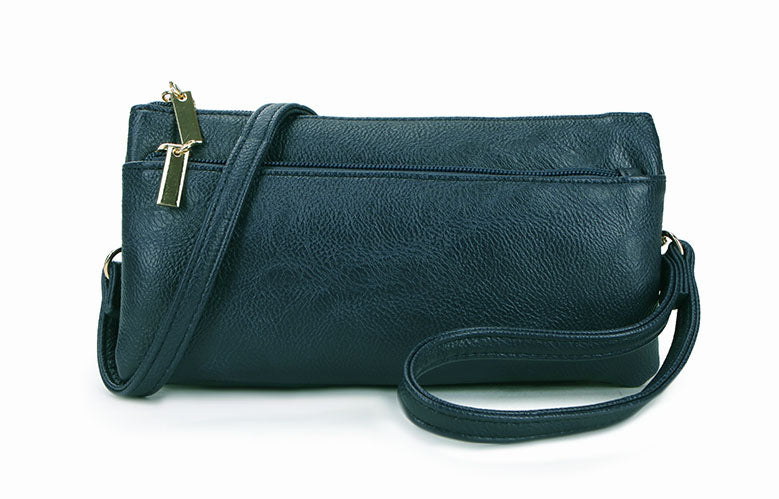 SLIM DARK BLUE MULTI COMPARTMENT CROSS BODY MESSENGER PURSE BAG WITH WRISTLET AND LONG STRAP
