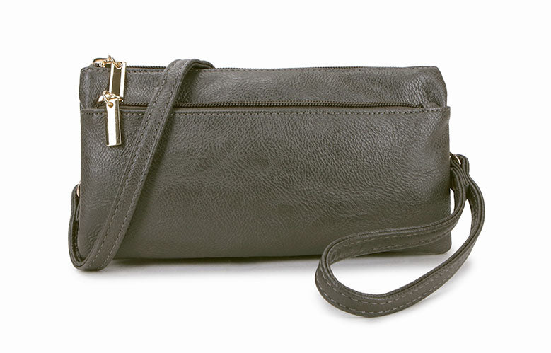 SLIM DARK GREY MULTI COMPARTMENT CROSS BODY MESSENGER PURSE BAG WITH WRISTLET AND LONG STRAP