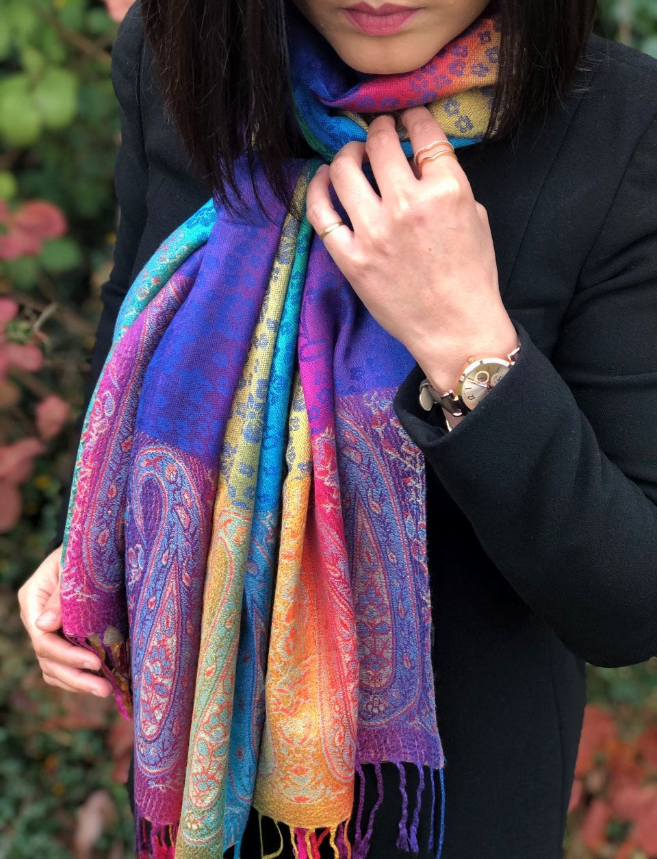 A-SHU LARGE BLUE RAINBOW FLORAL PAISLEY PASHMINA SHAWL SCARF - A-SHU.CO.UK