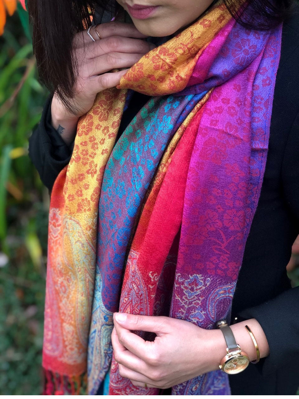 A-SHU LARGE RUSTIC RED RAINBOW FLORAL PAISLEY PASHMINA SHAWL SCARF - A-SHU.CO.UK