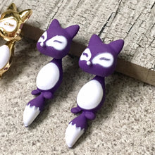 LIGHTWEIGHT PURPLE DANGLE DROP FOX STUD EARRINGS
