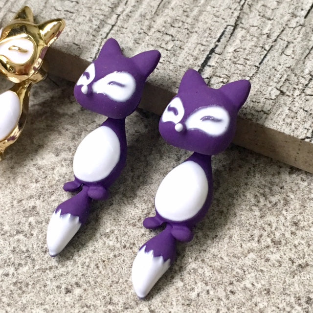 A-SHU LIGHTWEIGHT PURPLE DANGLE DROP FOX STUD EARRINGS - A-SHU.CO.UK