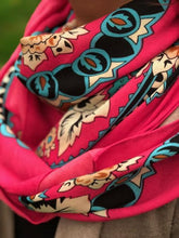 LARGE FUSHCIA PINK SQUARE FLORAL AND PAISLEY PRINT LIGHTWEIGHT SCARF