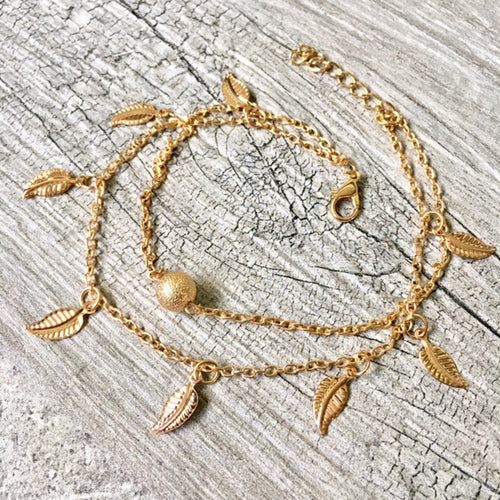 A-SHU GOLD MULTI LAYER BOHO ANKLET / ANKLE BRACELET WITH LEAF AND BALL DESIGN - A-SHU.CO.UK