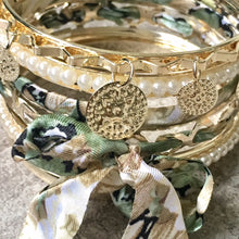 A-SHU BOHO INSPIRED GOLD PEARL GREEN FLORAL MIXED BANGLE SET - A-SHU.CO.UK