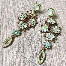 LONG PASTEL GREEN DIAMANTE STONE CRYSTAL DROP SEMI-FROSTED EARRINGS