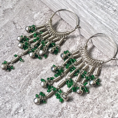 LONG SILVER GREEN BEADED DANGLE DROP EARRINGS