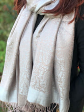 LARGE TAUPE AND SILVER GREY PAISLEY PRINT PASHMINA SHAWL SCARF