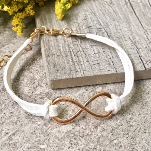 A-SHU WHITE GENUINE SUEDE LEATHER INFINITY BRACELET / ETERNITY FRIENDSHIP BAND - A-SHU.CO.UK