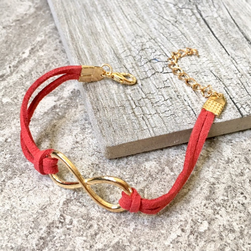 RED GENUINE SUEDE LEATHER INFINITY BRACELET / ETERNITY FRIENDSHIP BAND