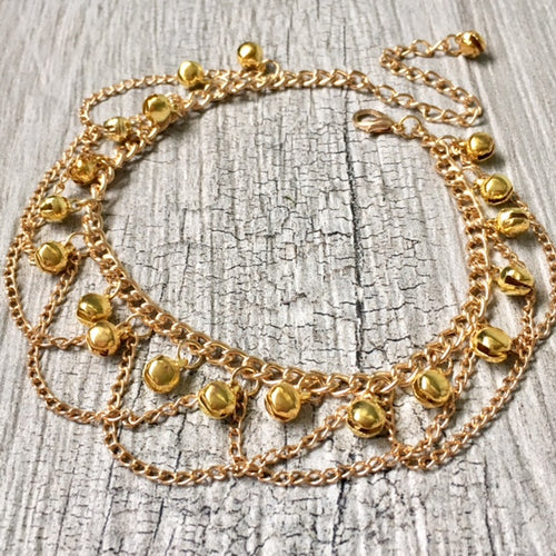 A-SHU GOLD DANGLE JINGLE BELLS CHAIN ANKLET / ANKLE BRACELET - A-SHU.CO.UK