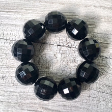 A-SHU CHUNKY BLACK BEAD DISCO BALL BRACELET ON STRETCH ELASTICATED BAND - A-SHU.CO.UK