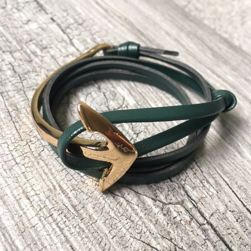 A-SHU ORDER BY REQUEST - GREEN GENUINE LEATHER ANCHOR CUFF BRACELET - GOLD - A-SHU.CO.UK