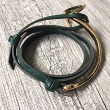 ORDER BY REQUEST - GREEN GENUINE LEATHER ANCHOR CUFF BRACELET - GOLD