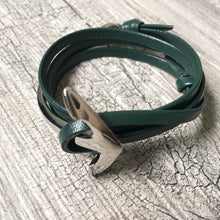 GREEN GENUINE LEATHER ANCHOR CUFF BRACELET - SILVER