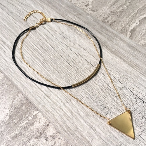 MULTI LAYER BLACK LEATHER CHOKER WITH GOLD NECKLACE