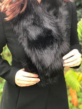 A-SHU BLACK FAUX FUR LAPEL COLLAR SCARF - A-SHU.CO.UK