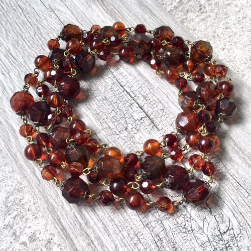 A-SHU LONG BOHEMIAN BROWN SIMPLE BEADED NECKLACE - A-SHU.CO.UK