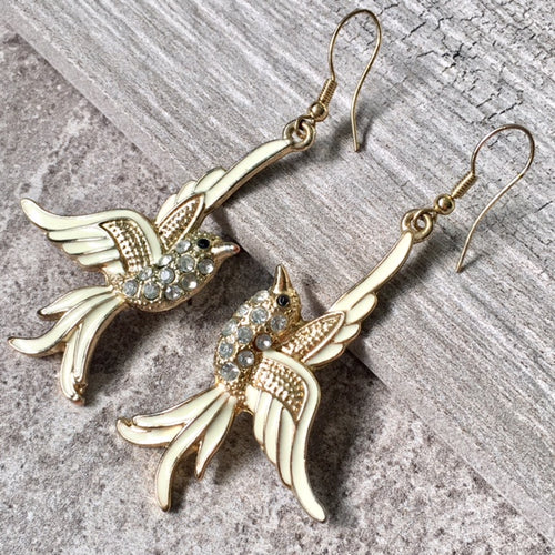 GOLD LONG DROP DIAMANTE BIRD DANGLE EARRINGS