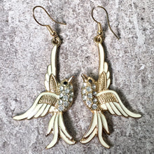 A-SHU GOLD LONG DROP DIAMANTE BIRD DANGLE EARRINGS - A-SHU.CO.UK