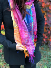 LARGE DARK MULTI-COLOUR PAISLEY PRINT PASHMINA SHAWL SCARF