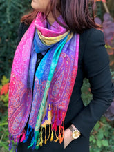 A-SHU LARGE DARK MULTI-COLOUR PAISLEY PRINT PASHMINA SHAWL SCARF - A-SHU.CO.UK