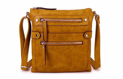 LARGE MUSTARD YELLOW MULTI COMPARTMENT CROSSBODY BAG WITH LONG STRAP