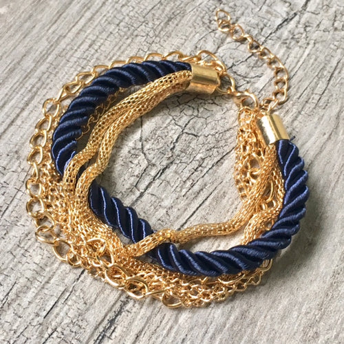 GOLD CHAIN MULTI-LAYER NAVY BLUE BRAIDED ROPE NAUTICAL BRACELET