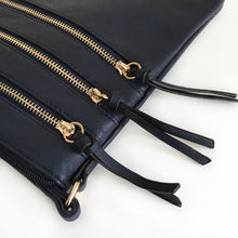 A-SHU NAVY BLUE SLIM MULTI POCKET CROSS BODY BAG WITH LONG STRAP - A-SHU.CO.UK
