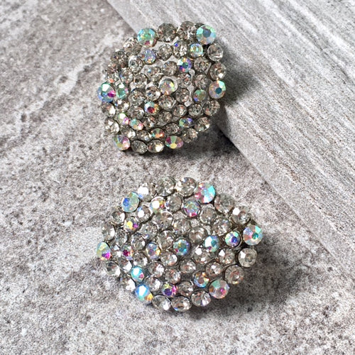 LARGE OVAL STATEMENT DIAMANTE STUD EARRINGS