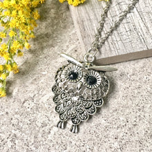 SILVER OWL BIRD PENDANT WITH LONG NECKLACE