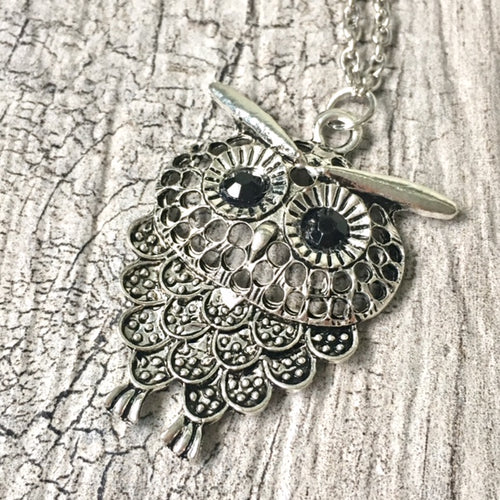 A-SHU SILVER OWL BIRD PENDANT WITH LONG NECKLACE - A-SHU.CO.UK