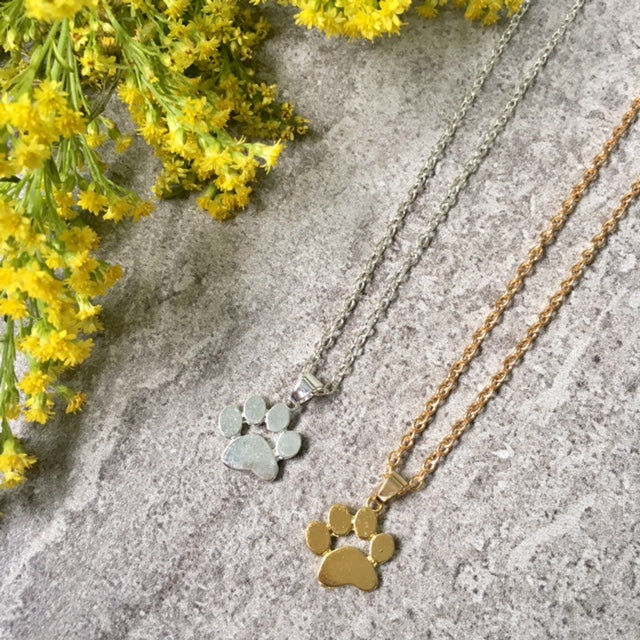 SHORT GOLD PAW PRINT / DOG FOOTPRINT NECKLACE