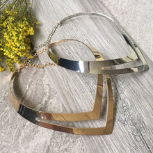 SHORT GEOMETRIC COLLAR GOLD MULTI LAYER METAL CHOKER NECKLACE