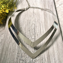 SHORT GEOMETRIC COLLAR SILVER MULTI LAYER METAL CHOKER NECKLACE