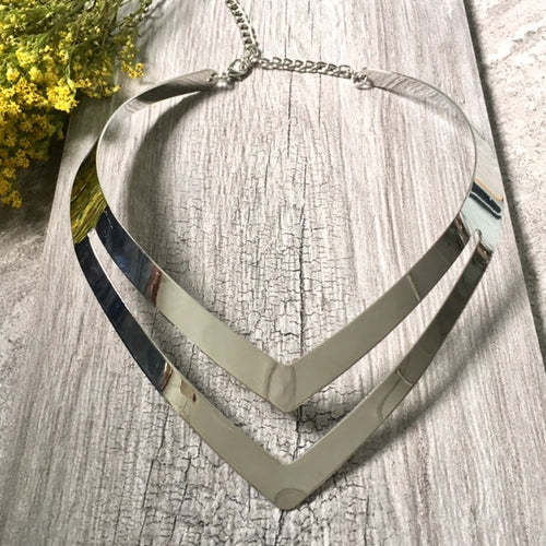 A-SHU SHORT GEOMETRIC COLLAR SILVER MULTI LAYER METAL CHOKER NECKLACE - A-SHU.CO.UK