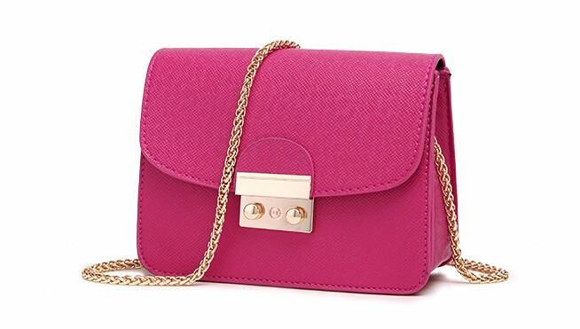 A-SHU PINK SMALL CROSS-BODY BAG WITH LONG GOLD CHAIN SHOULDER STRAP - A-SHU.CO.UK